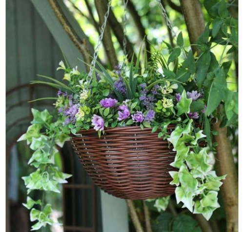 Purple & Yellow Hanging Basket